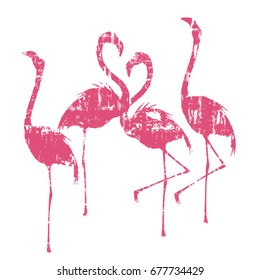 Vector illustration with grunge pink silhouettes of flamingo for making one-colors prints on t-shirts and other fabrics.