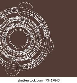 vector illustration of grunge round maya calendar