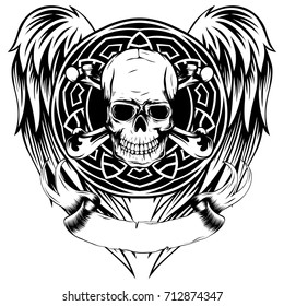 Vector illustration grunge skull with crossed bones and round pattern on wings. Design for tattoo or print t-shirt.