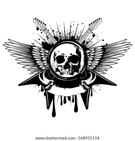 Vector Illustration Grunge Skull Stamp And Crossed Electric Guitars On Wings Dirty Background Hard