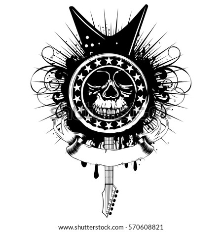 Vector Illustration Grunge Skull Stamp With Stars And Guitar On Dirty Background Hard Rock Sign