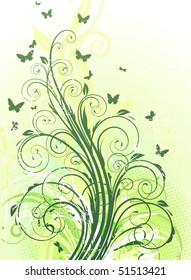 Vector illustration of grunge swirling flourishes decorative green Floral Background