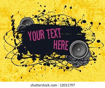 vector illustration - grunge text frame on grunge audio background