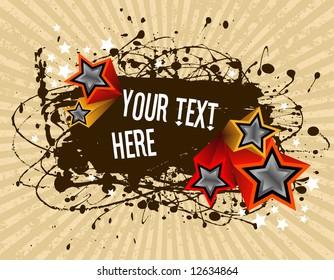 vector illustration - grunge text frame on grunge star background