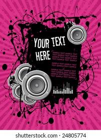 vector illustration - grunge text frame on pink audio background