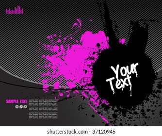 vector illustration - grunge text frames on grunge audio background with plenty of room for text
