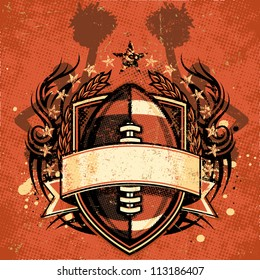 Vector illustration of a grungy football crest with tribal design element accents, scratched textures, ink splatters, cheerleader silhouettes, laurel wreath elements, stars, and halftone patterns.