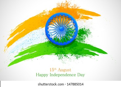 vector illustration of grungy Indian Flag with Ashoka Chakra