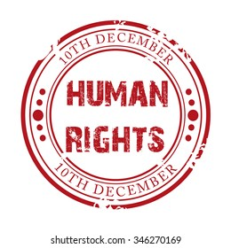 Vector illustration of a grungy stamp Human Rights Day.