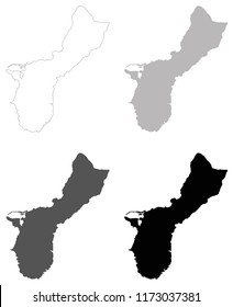 vector illustration of Guam maps