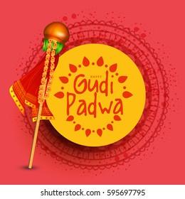 Vector Illustration of Gudi Padwa Celebration (Lunar New Year) Background.