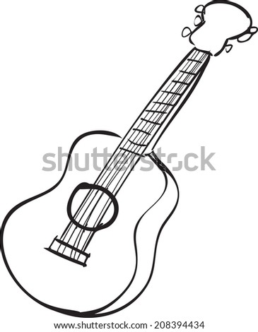 Vector Illustration Guitar Black White Doodle Stock Vector Royalty