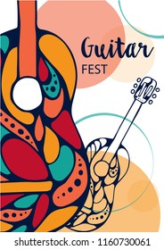 Vector illustration - Guitar festival. Hand-drawn music instruments. For music events, concerts.