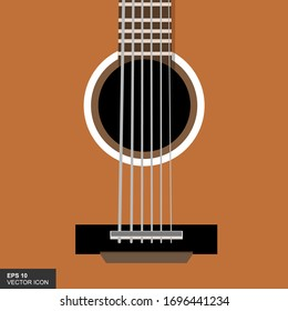 Vector illustration of a guitar in a flat style. Abstract graphic design musical instrument.