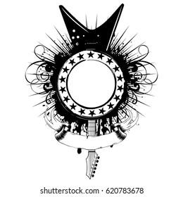 Vector illustration guitar and frame on grunge background