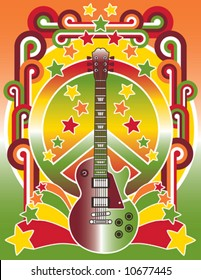 A vector illustration of a guitar, peace symbol and stars with a retro border. Elements are on separate layers for easy editing.