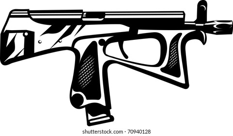 Vector illustration of a gun black and white