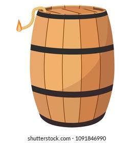 Vector illustration gun powder barrel. TNT dynimate wooden old barrel