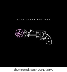 Vector illustration gun shooting flower. Linear graphic print for t-shirts. Poster or print old school style. Motivation slogan and inspirational quote