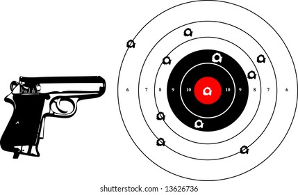 a vector illustration for a gun and a target with bullets holes