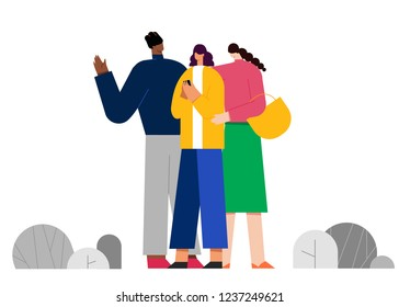 Vector illustration with guy and a girl, Best Friends concept. People character vector illustration flat design. Use in Web Project and Applications.