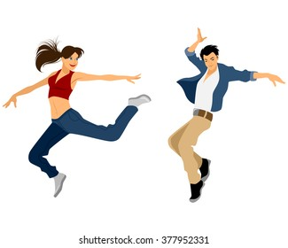 Vector illustration of a guy and girl dancing