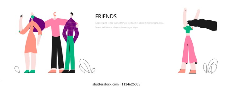 Vector illustration with guy and a girl, Friends concept. People character vector illustration flat design. Use in Web Project and Applications.