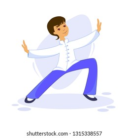 Vector illustration of a guy performing Tai Chi and Qigong exercises