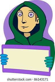 A vector illustration of a guy with a postcard.  Can be recolored or scaled without problems and quality loss
