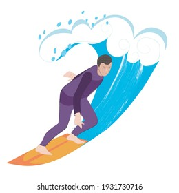 Vector Illustration of a Guy Surfing. Vector image isolated on a white background.