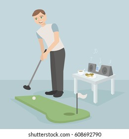 Vector illustration of a guy who plays mini golf in an apartment, a table on which stands tea and cookies