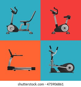 Vector illustration of gym sports equipment icons set. Treadmill, elliptical cross trainer, exercise bikes on color background.