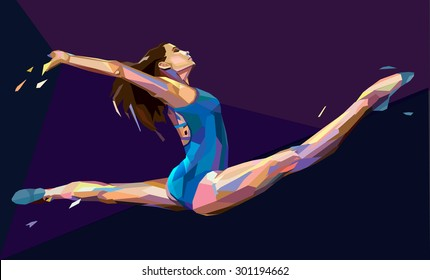 Vector illustration of gymnast girl jumping on abstract background
