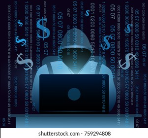 Vector illustration of hacker with laptop, hacking the Internet on dark blue background with money and codes, computer security concept, email spam with codes in flat style.