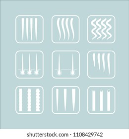 Vector Illustration of a Hair texture chart. Hair types icon set.
