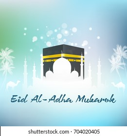 Vector illustration of Hajj Kaaba and Mosque Eid adha islamic