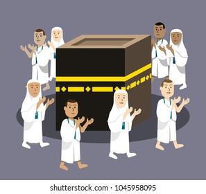 Vector illustration of Hajj pilgrimage praying around Kabaa.