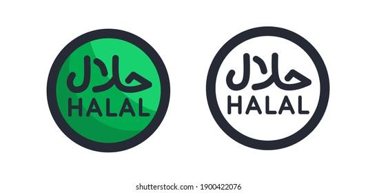 vector illustration of halal logo icon, black white and green.  flat vector line art design.