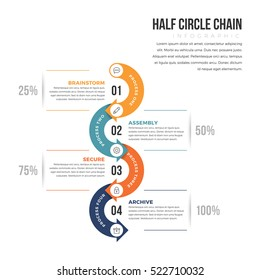 Vector illustration of half circle infographic design element.