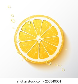Vector illustration of a half of a lemon, juicy slice of  fruit with drops of water, realistic design, minimalistic style, isolated object on a white background