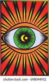A vector illustration of a half toned green eye surrounded by red, yellow, and orange rays of light,  with  a crescent moon the center.  11x17 aspect ratio,  perfect  for poster prints.