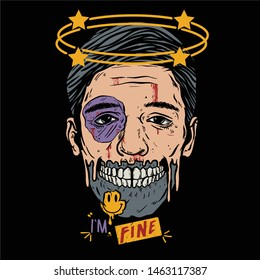 vector illustration the half-skulled man's face, hit and bleeding with emoticons smile  / face full of blood