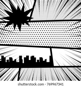 Vector illustration halftone dot mockup for comic text. Comics book monochrome template background. Pop art black white empty backdrop mock up. Silhouette city boom explosion. Speech bubble balloon.