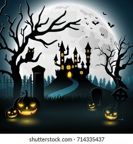 Vector illustration of Halloween background with castle and scary pumpkins