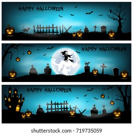 Vector illustration of Halloween background with cemetery, bats and castle