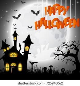Vector illustration of Halloween background with church on the full moon