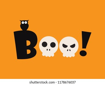 Vector illustration of Halloween boo - Greeting card template