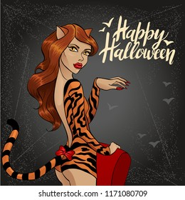 vector illustration of halloween with cat woman 1