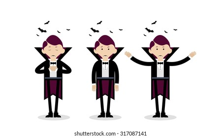 Vector illustration of the Halloween character. Image of the Vampire in three different body positions. Dracula is sleeping, standing still and waving.