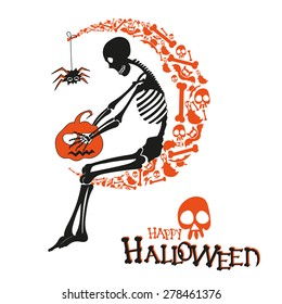 Vector illustration of halloween congratulatory title with skeleton